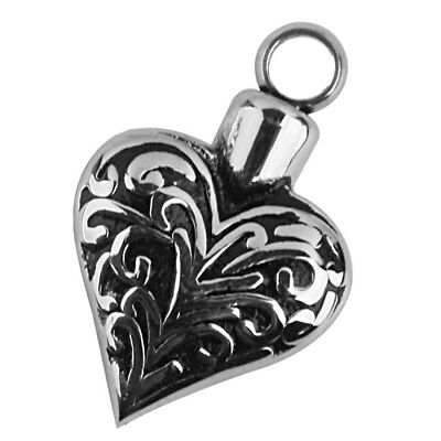 FP Flowers in Heart Stainless Steel Cremation Pendant Antique Silver