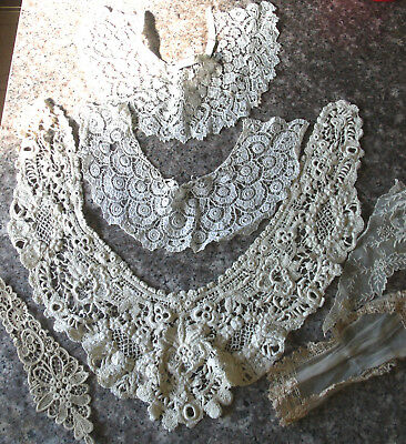Lot Antique Vintage Lace Collars Jabots Guipere Textured Very good condition