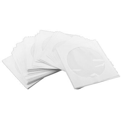 100X CD DVD White Paper Sleeves with Flap & Clear Window Envelopes