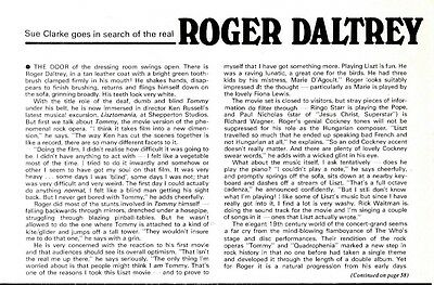 Roger Daltry From Tommy To Liszt Article & Picture(S)