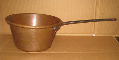Antique Heavy Hammered Rolled Copper Pot Apple Butter and Paella 3qt