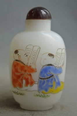 China Collectable Handwork Old Agate Carve Child Read book Lucky Snuff Bottle
