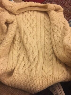 Men's Vintage Cream Cable Knit Wooden Aran Jumper Sweater S Wool Overs