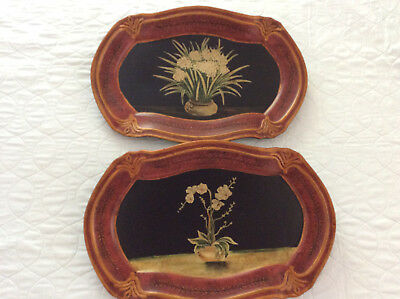 Two Decorative Plates Vintage Collectible Wall Plate Floral Collectors Flowers