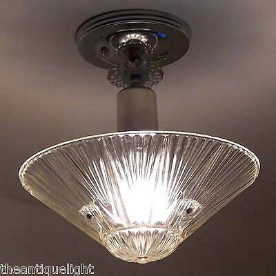 500 Vintage 40s aRT DEco Ceiling Light Fixture Glass Chandelier 3 Light clear
