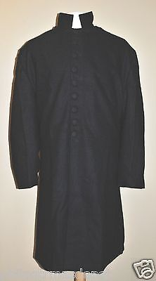 1 IN STOCK!! Size 50 Chaplains Frock Coat - Black Wool w/Covered Buttons