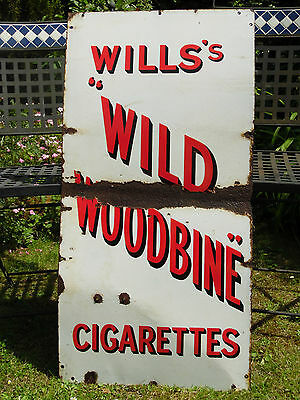 Vintage Large Will's Wild Woodbine Cigarettes Enamel Sign Advertising Tobacco