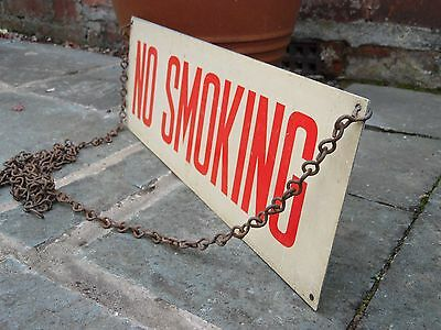 Vintage Reclaimed Metal Factory Off-White No Smoking Sign Original Hanging Chain