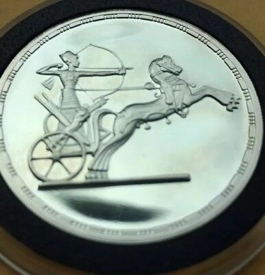 Egypt 5 Pounds Proof 999 Silver Ancient Treasures Archer in Chariot uncirculated