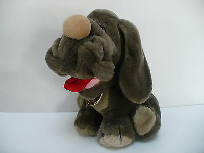 Wrinkles Brown Sitting Plush Dog Ganz 1985 With Leather Tag And Paper Tag