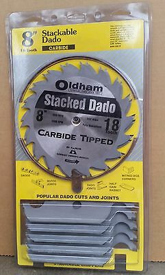 """Oldham Stackable Dado 8"""" Carbide Tipped 18 Tooth Includes 5 Chippers"""