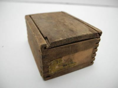 Antique Wood Miniature Finger Joint Hardware Box with Sliding Cover
