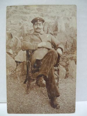 Dillenburg, Germany Real Photo Posted Postcard of WWI Soldier in Chair