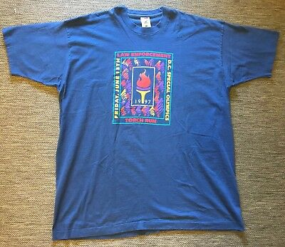 Vintage Police T Shirt Law Enforcement Xxxl 1997 Usa Torch Run