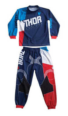 Thor Motocross Two Piece Pajamas S7 Toddler Boy Blue/Red 3T
