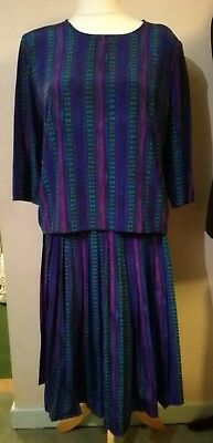 vintage skirt and top. blue purple and greens size 18