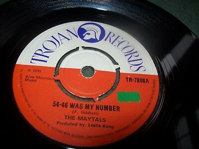 "The Maytals / Beverley All Stars - 54-46 Was My Number 7"" UK on Trojan TR-7808"