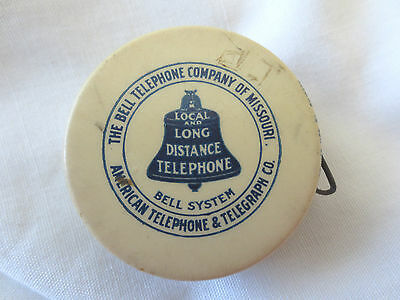 Vtg Bell Telephone System Cloth Sewing Tape Measure Celluloid
