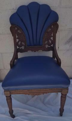 Antique Fan Back Accent Chair - Solid Wood - WONDERFUL CARVED DETAIL 1940s DECO