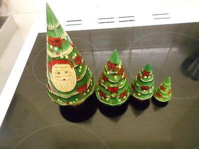a  christmas tree themed russian stacking doll