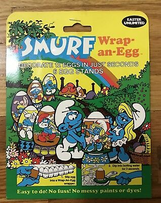 SMURF Wrap an EGG EASTER 1984 Peyo 80's Holiday toys cartoon MIP