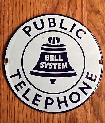 Vintage Round Bell System Public Telephone Porcelain 7 Inch Sign