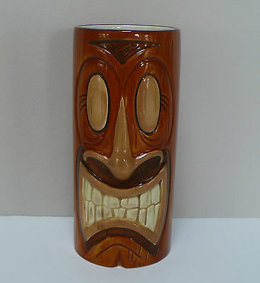 Hawaii Tiki Mug Germaine's Luau 6 Inches Tall Brown Ceramic With Woodgrain Look