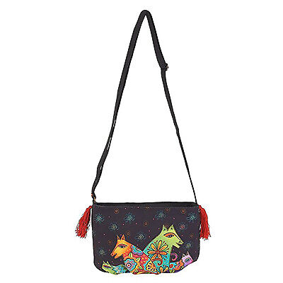Laurel Burch Canine Clan Dog Crossbody Bag Handbag Purse, 9.5 X 6 X .5 Inches