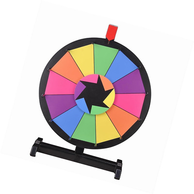 """WinSpin™ 15"""" Tabletop Editable Color Prize Wheel 12 Slot Spinning Game with Dry"""