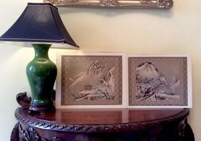 2 Beautiful Old Oriental Watercolours Painted on Silk With Blossom & Mountains