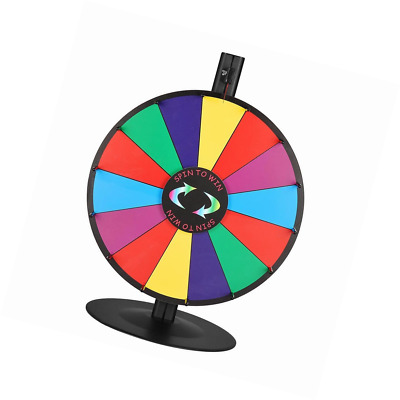 """WinSpin 18"""" Tabletop Editable Color Prize Wheel 14 Slot Spinning Game Steel Base"""