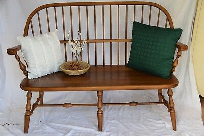 Ethan Allen Solid Maple Wood Spindle Back Windsor Style Bench