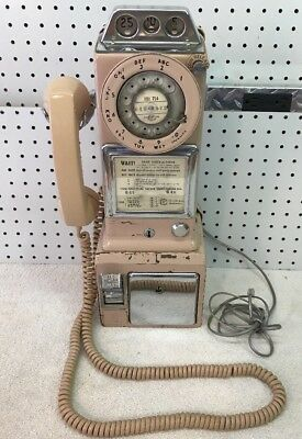 Rare Vintage Pink 3 Coin Slot Pay Phone NE Telephone, Canada, EXC COND!