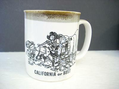 "Vintage ""california Or Bust"" Coffee Cup Norcrest Japan   (M3)"