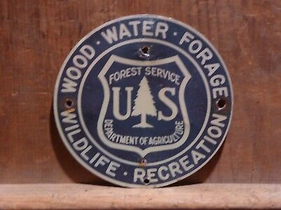 Very Rare Old Vintage Original Us Forest Service Wildlife Recreation Metal Sign