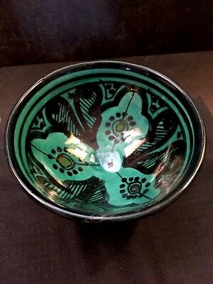 Vintage Moroccan Bowl Hand Painted Brilliant Turquoise Original Signed
