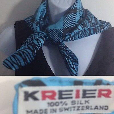"Kreier Switzerland 100% Silk 26"" Scarf Retro Art Turquoise/Black"