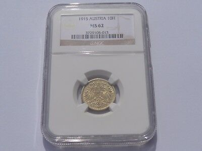 1915 Austria 10 Heller Ngc Ms-62 No Reserve! Super Nice! Must See!!