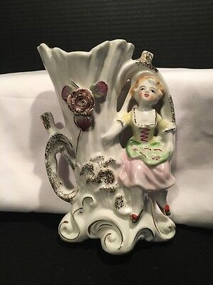 Vintage Victorian Girl Wall Pocket 6 ""