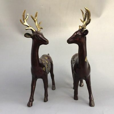 Chinese antique carved a pair of sika deer old pure copper and gold