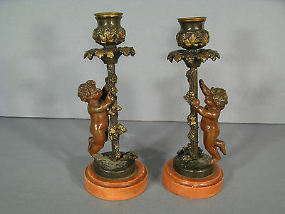 PAIR OF CANDLE HOLDERS BRONZE CHERUBIM 19th CENTURY / TORCH Bronze PUTTI VINE