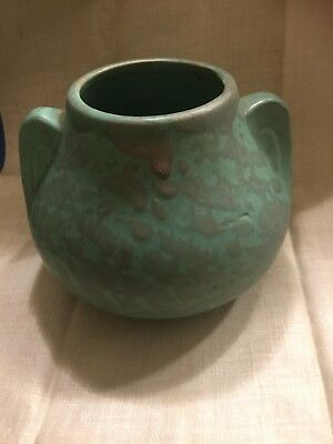 Wonderful Art Deco Matte Green Glaze Spotted  Pottery Vase
