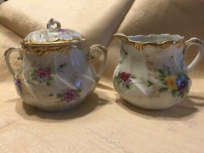 Antique Matching Sugar And Creamer  Austria Germany hand painted bone china