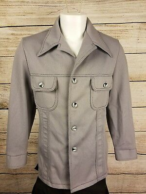 Vtg 60s 70s Leisure Suit Jacket Mens Size Large Sport Coat Blazer Gray 1810