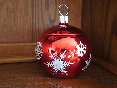 Vintage Glass Christmas Ball Flower Vase with Lid from FTD