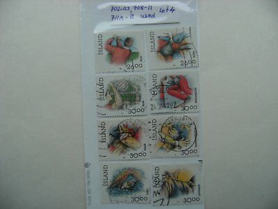 Stamps. Iceland. Used. 702-03. 708-11. 711A-711B. Lot 4.