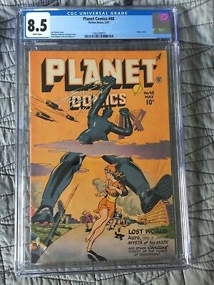 Rare 1947 Golden Age Planet Comics #48 Cgc 8.5 Universal Robot Cover White Pages