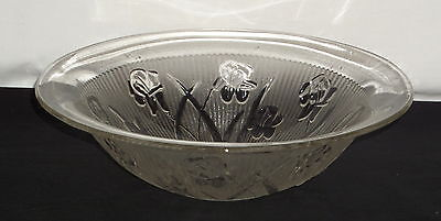 "Jeannette IRIS CRYSTAL *11 1/4"" STRAIGHT EDGE FRUIT BOWL*#2"
