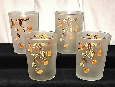 "4 Hall Libbey AUTUMN LEAF/JEWEL TEA *3 3/4""  FROSTED TUMBLERS*"