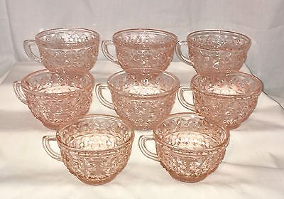 """8 Jeannette HOLIDAY PINK *3 1/2"""" CUPS* RAYED BOTTOM*"""